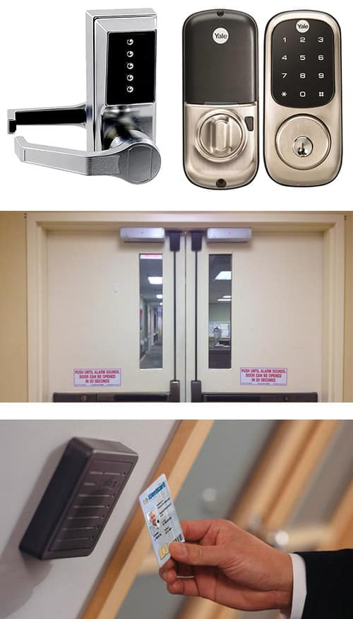 keypad locks (top), commercial doors with crash bars and maglocks (middle), and a key-card activated access control system (bottom)