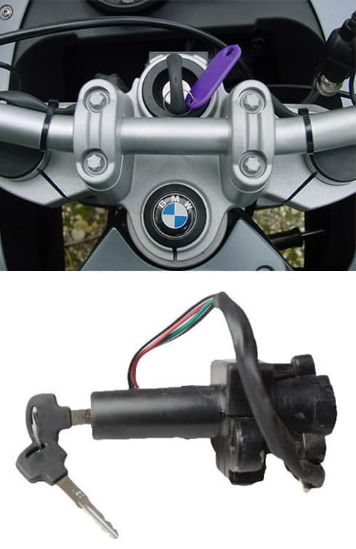 image of a new key cut for a BMW motorcycle (top), and a motorcycle ignition (bottom)