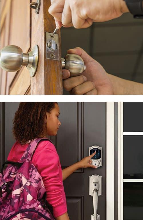 residential door lock installation (top), Schlage Smart Lock on a front door (bottom)